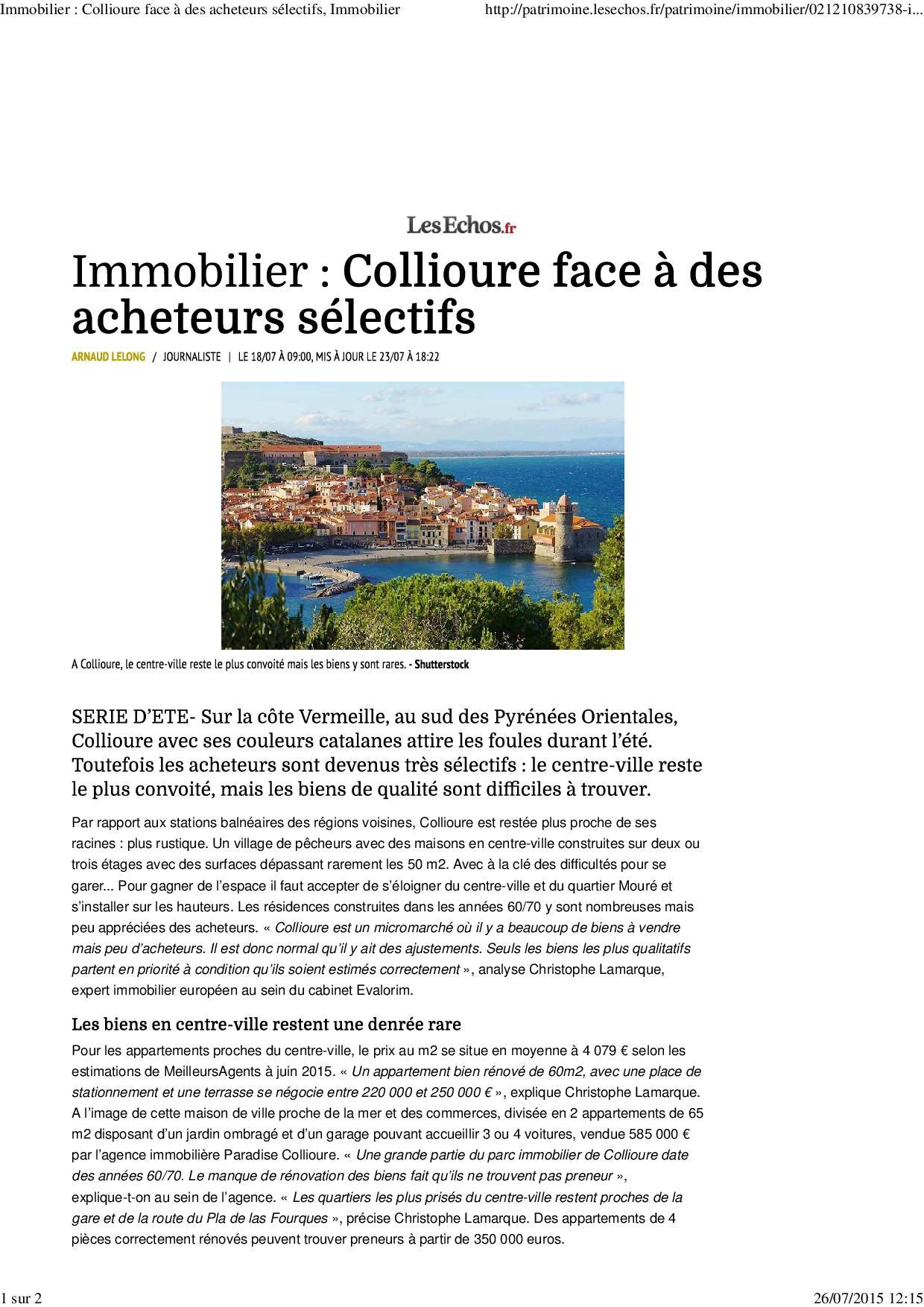 Immobilier _ Collioure face à des acheteurs sélectifs, Immobilier1